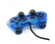 Wired Dual Shock Joypad Controller for PS2 [Transparent Blue]