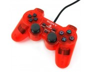 Wired Dual Shock Joypad Controller for PS2 [Transparent Red]