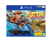 PlayStation 4 Slim 1TB Konzol 2db DualShock 4 v2 kontrollerel fekete és Crash Team Racing szoftverrel (PS4)